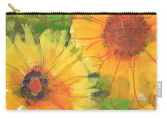 Big Sunflowers Watercolor And Pastel Painting Sf018 By Kmcelwaine Carry-all Pouch