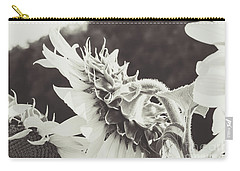 Carry-all Pouch featuring the photograph Sunflower Black And White by Andrea Anderegg