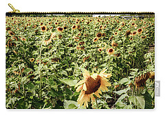 Carry-all Pouch featuring the photograph Sunflower Field by Alexey Stiop
