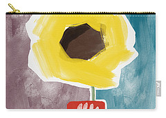 Sunflower In A Small Vase- Art By Linda Woods Carry-all Pouch