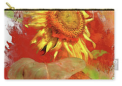 Sunflower In Red Carry-all Pouch