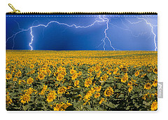 Carry-all Pouch featuring the photograph Sunflower Lightning Field  by James BO  Insogna