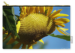 Sunflower, Mammoth With Bees Carry-all Pouch