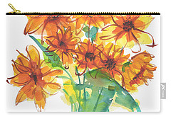 Sunflower Medley II Watercolor Painting By Kmcelwaine Carry-all Pouch