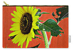 Carry-all Pouch featuring the photograph Sunflower On Red 2 by Sarah Loft