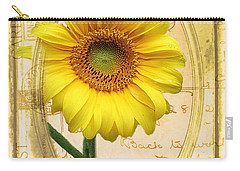 Sunflower On Vintage Postcard Carry-all Pouch