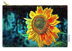 Carry-all Pouch featuring the digital art Sunflower Rain by Pennie McCracken