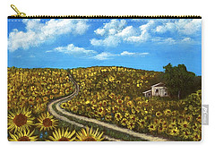 Carry-all Pouch featuring the painting Sunflower Road by Anastasiya Malakhova