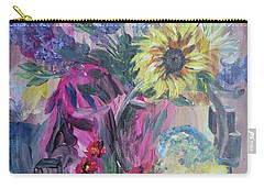 Sunflower Still Life Carry-all Pouch by Judy Via-Wolff