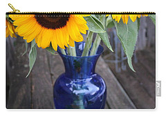 Sunflowers And Blue Vase - Still Life Carry-all Pouch by Dora Sofia Caputo Photographic Art and Design