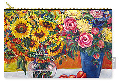 Sunflowers And Plums Carry-all Pouch by Alexandra Maria Ethlyn Cheshire