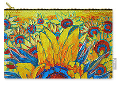 Sunflowers Field In Sunrise Light Carry-all Pouch