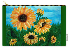 Carry-all Pouch featuring the painting Sunflowers For Mom by Sonya Nancy Capling-Bacle