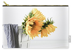 Carry-all Pouch featuring the photograph Sunflowers In A Basket by Kim Hojnacki