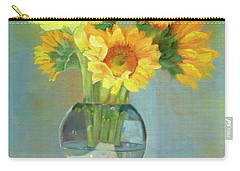 Carry-all Pouch featuring the painting Sunflowers In A Glass Vase Number One by Marlene Book