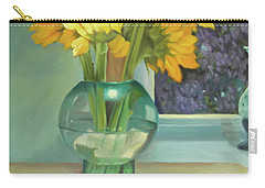 Carry-all Pouch featuring the painting Sunflowers In A Glass Vase Number Three by Marlene Book