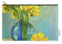 Carry-all Pouch featuring the painting Sunflowers In A Glass Vase Number Two by Marlene Book