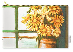 Carry-all Pouch featuring the painting Sunflowers In Window by Winsome Gunning