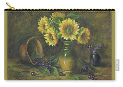 Carry-all Pouch featuring the painting Sunflowers by Katalin Luczay