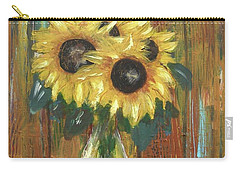 Carry-all Pouch featuring the painting Sunflowers by Miroslaw  Chelchowski