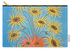 Sunflowers On Blue Carry-all Pouch by Marie Schwarzer