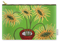 Sunflowers On Green Carry-all Pouch
