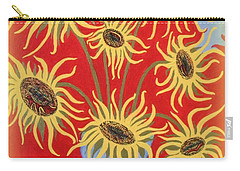 Sunflowers On Red Carry-all Pouch by Marie Schwarzer