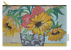 Carry-all Pouch featuring the painting Sunflowers Three by Robin Maria Pedrero