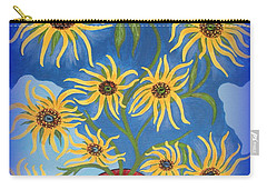 Sunflowers On Navy Blue Carry-all Pouch by Marie Schwarzer