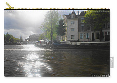 Carry-all Pouch featuring the photograph Sunlight On Canal In Amsterdam by Therese Alcorn