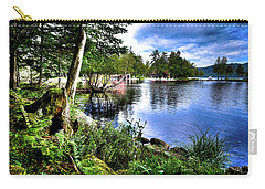 Carry-all Pouch featuring the photograph Sunlit Shore At Covewood by David Patterson