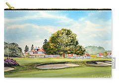 Carry-all Pouch featuring the painting Sunningdale Golf Course 18th Green by Bill Holkham