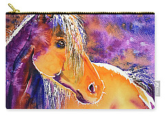 Carry-all Pouch featuring the painting Sunny Mare by Zaira Dzhaubaeva