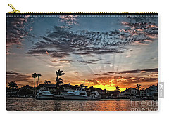 Sunrays Over Huntington Harbour Carry-all Pouch by Peter Dang