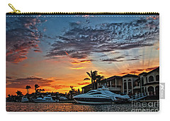 Sunrays Sunset Over Huntington Harbour Carry-all Pouch by Peter Dang