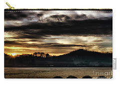 Carry-all Pouch featuring the photograph Sunrise And Hay Bales by Thomas R Fletcher