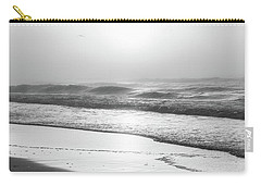 Carry-all Pouch featuring the photograph Sunrise At Beach Black And White  by John McGraw