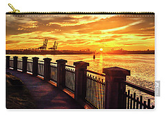 Carry-all Pouch featuring the photograph Sunrise At The Harbor by John Poon