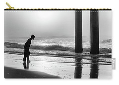 Carry-all Pouch featuring the photograph Sunrise Boy In Foggy Beach by John McGraw