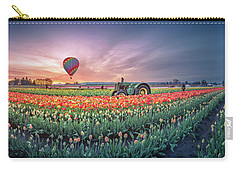 Carry-all Pouch featuring the photograph Sunrise, Hot Air Balloon And Moon Over The Tulip Field by William Lee