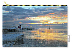 Sunrise On Ice Carry-all Pouch by Greta Larson Photography