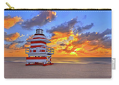 Sunrise Over Lifegaurd Stand On South Miami Beach  Carry-all Pouch by Justin Kelefas