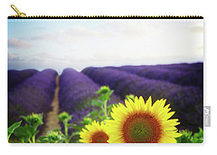 Sunrise Over Sunflower And Lavender Field Carry-all Pouch