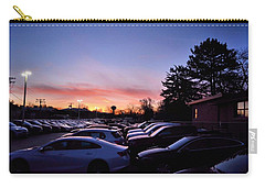 Carry-all Pouch featuring the photograph Sunrise Over The Car Lot by Jeanette O'Toole