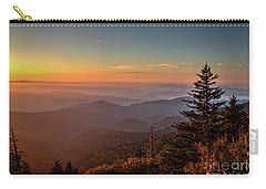 Carry-all Pouch featuring the photograph Sunrise Over The Smoky's V by Douglas Stucky
