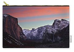 Carry-all Pouch featuring the photograph Sunrise Over Yosemite Valley In Winter by Jetson Nguyen