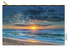 Sunrise Seascape With Footprints In The Sand Carry-all Pouch