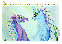 Carry-all Pouch featuring the painting Sunrise Swim - Sea Dragon Mermaid Cat by Carrie Hawks