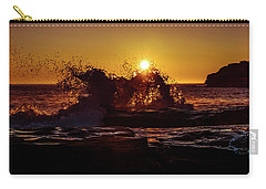 Carry-all Pouch featuring the photograph Sunrise Waves Crash  by Chris Bordeleau