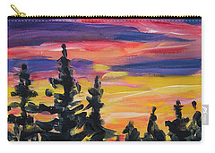 Carry-all Pouch featuring the painting Sunset Alaska by Yulia Kazansky